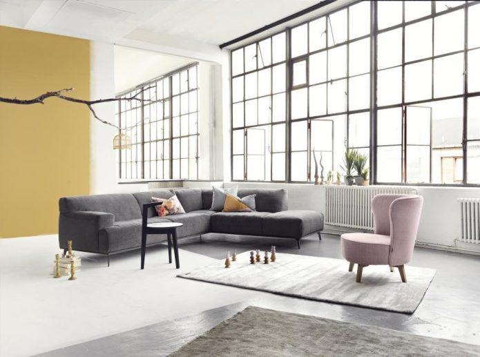 Industrialny sofa tapiecerowana szklany salonu wysoka jakość