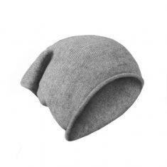 Czapka z kaszmiru szara L.Grey Roll 25,5x 28cm MINOU Cashmere