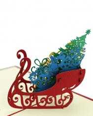 Kartka Świąteczna 3D BBHome Sledge Christmas Tree 12x12cm