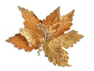 Gwiazda Betlejemska na klipsie BBHome Poinsetia Velvet Gold Glitter 15cm