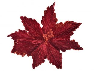 Gwiazda Betlejemska na klipsie BBHome Poinsetia Velvet Red Glitter 15cm