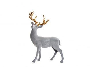 Figurka szary jeleń BBHome Velvet Grey Gold Deer 25x10x36cm