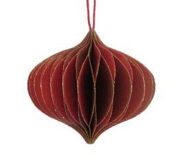 Rozkładana ozdoba choinkowa BBHome Paper Oignion Red Gold 7,5cm