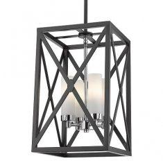 Lampa wisząca Dublin Black/Silver 27x27x43cm Cosmo Light