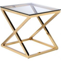 Stolik boczny New Yorker Gold 60x60x60cm Cosmo Light