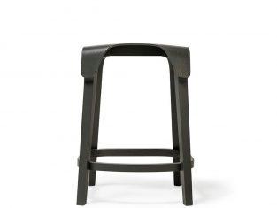 Krzesło barowe niskie Ton Leaf Low Beech Black 44,5×45,5x61cm