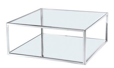 Stolik kawowy kwadratowy szklany Morrisania Silver 100x100x40cm Cosmo Light