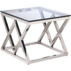 Stolik boczny szklany Empire Silver 60x60x50cm Cosmo Light