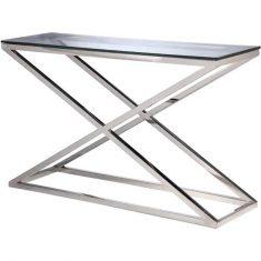 Konsola szklana srebrna New Yorker Silver 130x40x80cm Cosmo Light