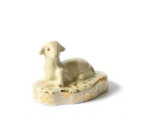Baranek wielkanocny porcelanowy zielony Majolika Sheep Green Gold