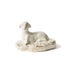 Baranek wielkanocny porcelanowy biały Majolika Sheep White Gold
