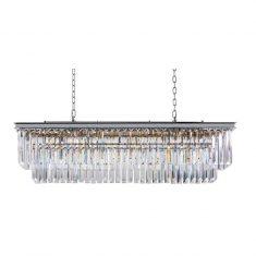 Żyrandol kryształowy prostokątny Odeon Silver 125×35,5x38cm