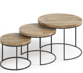 Zestaw stolików dębowych Ett 3szt. Trebord