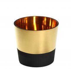 Złoto-czarna osłonka na doniczkę Vers le Soleil S BBHome 20x19cm