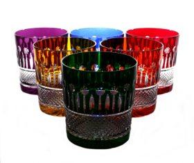Zestaw kryształowych kolorowych szklanek do whisky Victoria Colours kpl.6szt