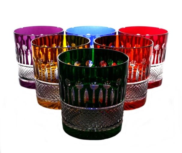 Zestaw kryształowych kolorowych szklanek bbhome
