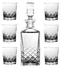 Zestaw kryształowy Soft Diamond karafka + 6 szklanek do whisky