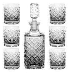 Zestaw kryształowy Diamond karafka + 6 szklanek do whisky