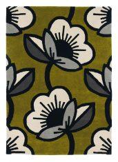 Zielony Dywan w Szare Kwiaty PASSION FLOWER OLIVE 059607 Orla Kiely
