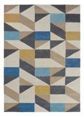 Niebiesko Beżowy Dywan Geometryczny - NUEVO INDIGO 26108 Scion Living