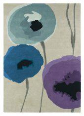 Niebiesko Beżowy Dywan w Kwiaty – POPPIES INDIGO PURPLE 45705 Sanderson