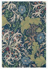 Niebiesko Zielony Dywan w Kwiaty – SEAWEED INK 28008 Morris & Co.