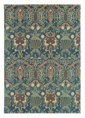 Niebiesko Zielony Dywan w Kwiaty – GRANADA INDIGO RED 27608 Morris & Co.