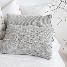 Poduszka z guzikami Grey MOYHA 60x40cm