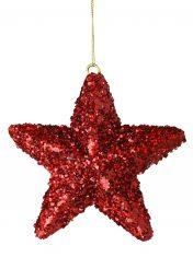 Ozdoba choinkowa Xmas Star Glitter Red BBHome