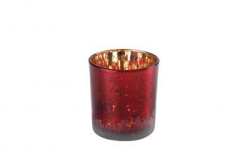 Świecznik na tealighty Snowflakes Red Gold Xmas BBHome 8×7,5cm
