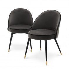 Komplet krzeseł Roche Cooper Dark Grey Eichholtz
