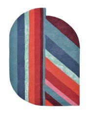 Niebiesko Czerwony Dywan Owalny Geometryczny o Nietypowym Kształcie – JORDIN BLUE 160908 Ted Baker