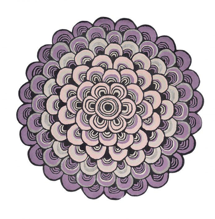 Nowoczesny Okrągły Dywan o abstrakcyjnym wzorze - MOSQUERADE ROUND PINK 160002 Ted Baker