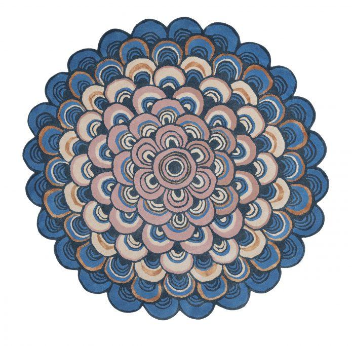 Nowoczesny Okrągły Dywan o abstrakcyjnym wzorze - MOSQUERADE ROUND BLUE 160008 Ted Baker