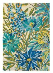 Niebiesko Zielony Dywan w Kwiaty - FLOREALE MARINE 44908 - rozmiar 140x200 cm Harlequin