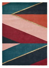 Zielono Bordowy Dywan Geometryczny - SAHARA BURGUNDY 56105 Ted Baker