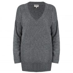 Sweter Graphit z dekoltem w serek Minou Cashmere bbhome
