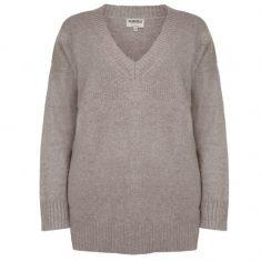 Sweter Taupe z dekoltem w serek Minou Cashmere bbhome