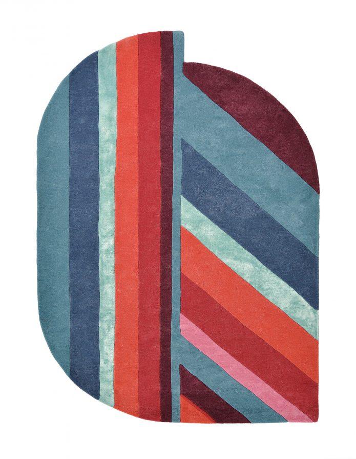 Niebiesko Czerwony Dywan Owalny Geometryczny o Nietypowym Kształcie - JORDIN BLUE 160908 Ted Baker