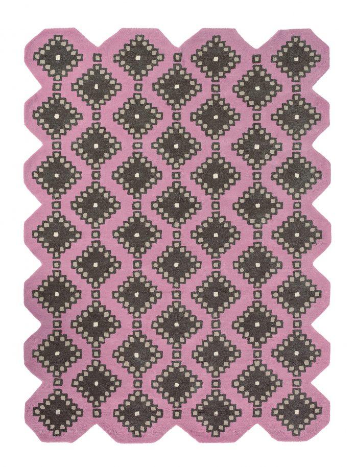 Nowoczesny Różowy Dywan o nieregularnym kształcie - IVIV PINK 160702 Ted Baker