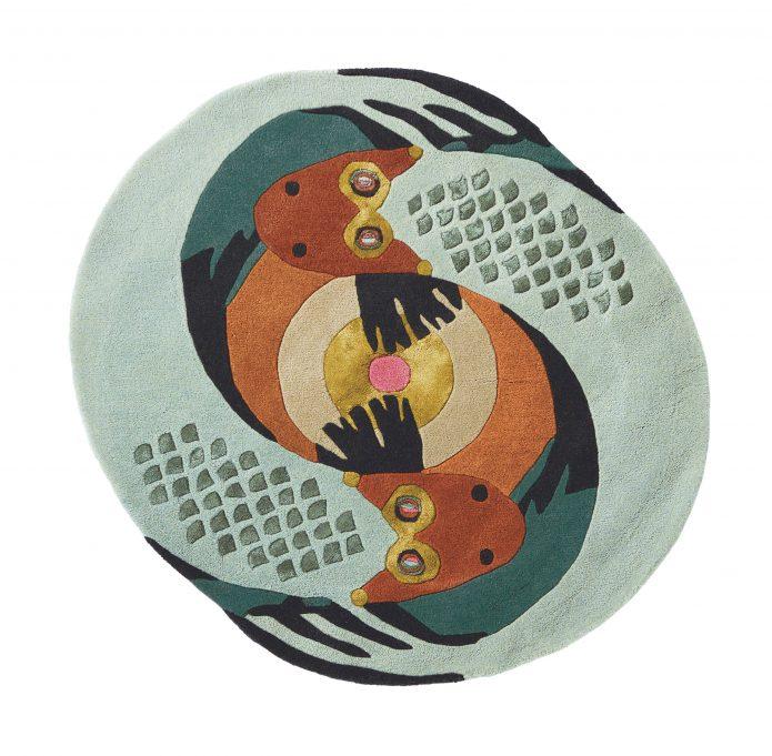 Nowoczesny Okrągły Dywan w Znak Zodiaku Ryby - ZODIAC PISCES 162205 Ted Baker