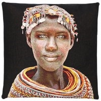 Poduszka dekoracyjna Samburu Girl Black FS Home Collections 45x45cm