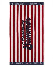 Ręcznik plażowy Velour Red / White Graphic Cotton Lexington 100x180cm