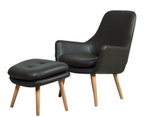 Fotel skórzany z podnóżkiem Bowery Black MTI Furninova- z ekspozycji