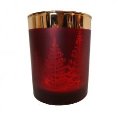 Świecznik Christmastrees Burgundy BBHome 10x13cm