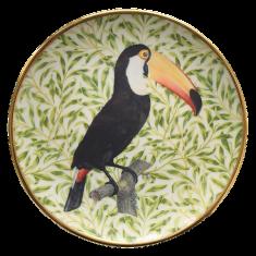 Talerzyk porcelanowy z tukanem Majolika Nieborów