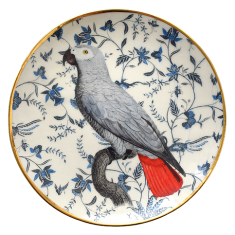 Talerzyk porcelanowy z papugą popielatą Majolika Nieborów