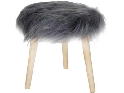 Stołek z futrzanym siedziskiem Fur Grey