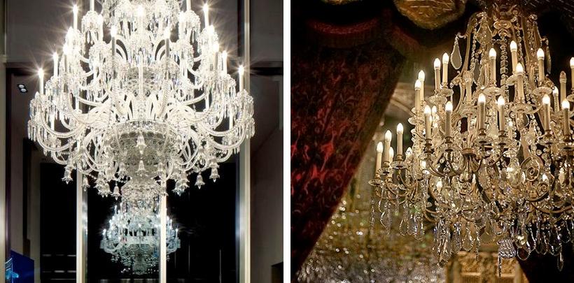 kryształowe żyrandole w ekskluzywnych wnętrzach