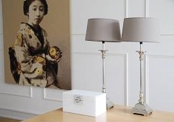 lampy z szarymi abażurami